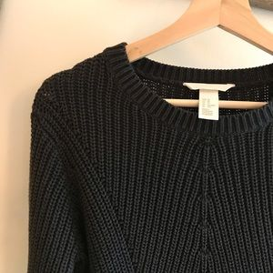 H&M Black Crew Knit Ribbed Cotton Acrylic Sweater